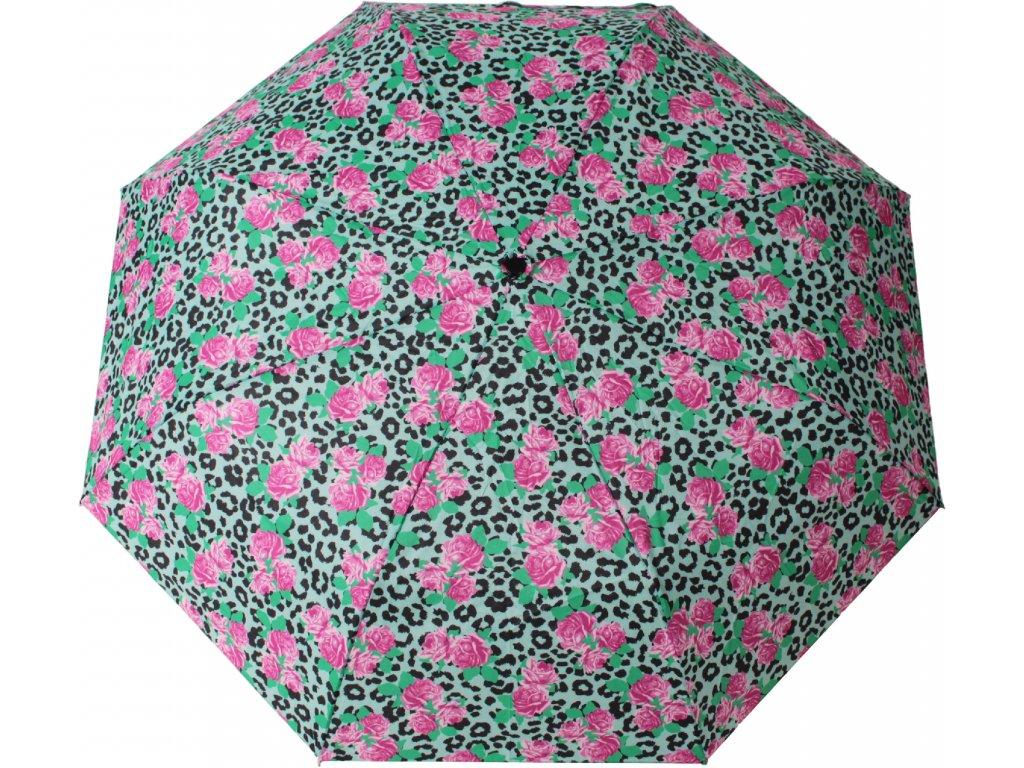 Skládací deštník manuální pestrobarevné květy zelené