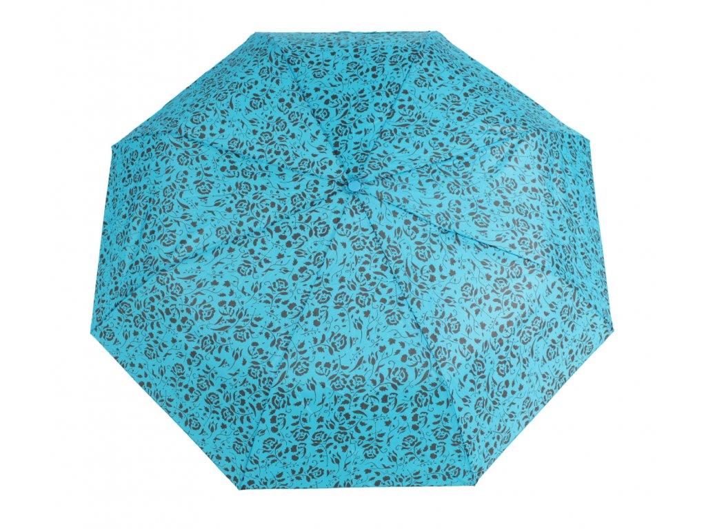 Skládací deštník manuální růžičky, modrý