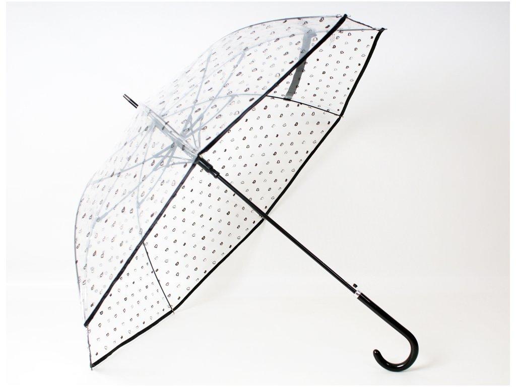 Průhledný deštník se srdíčky černý