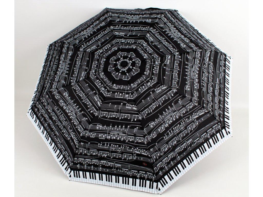 skládací vystřelovací deštník noty černý 1