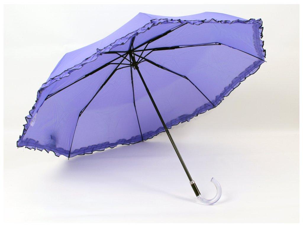 jednobarevný deštník s volánkem fialový