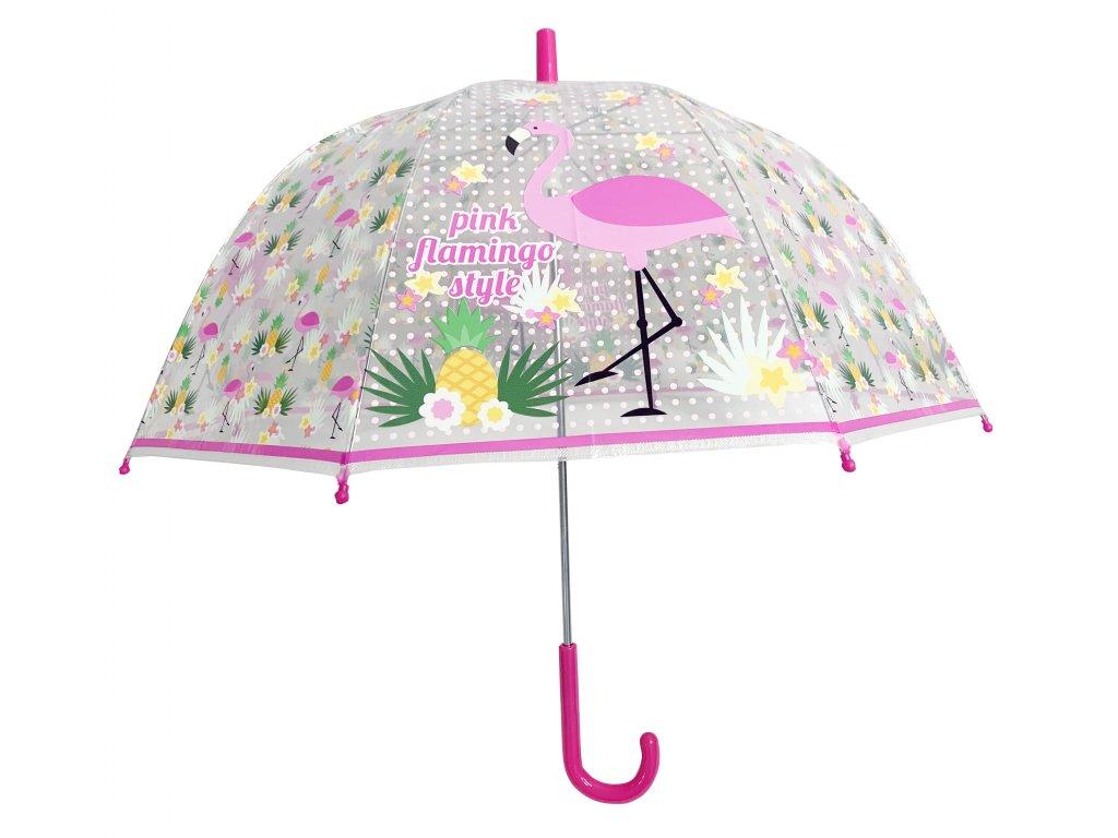Dětský průhledný deštník FLAMINGO, PLAMEŇÁK II