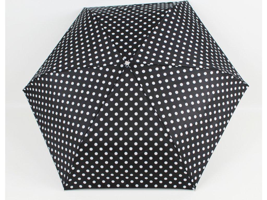 skládací černobílý deštník puntík