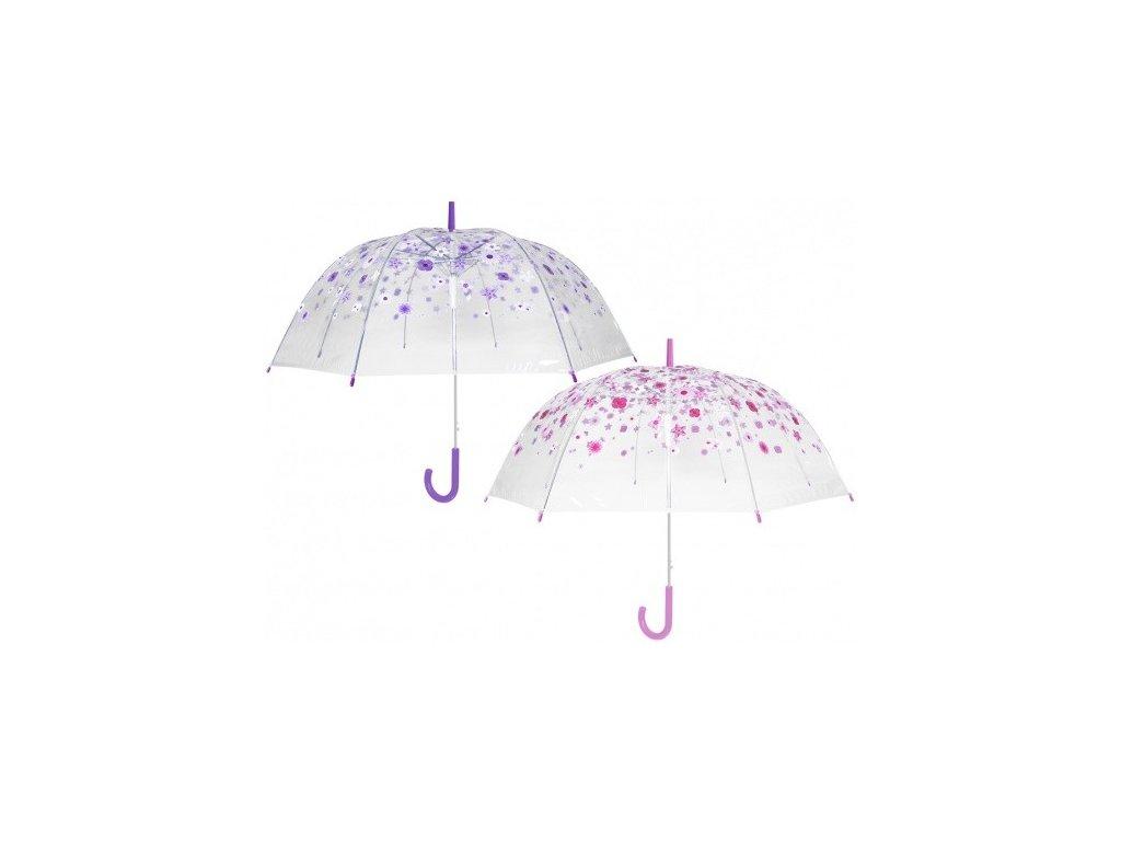 Průhledný deštník PVC s barevnými kytičkami