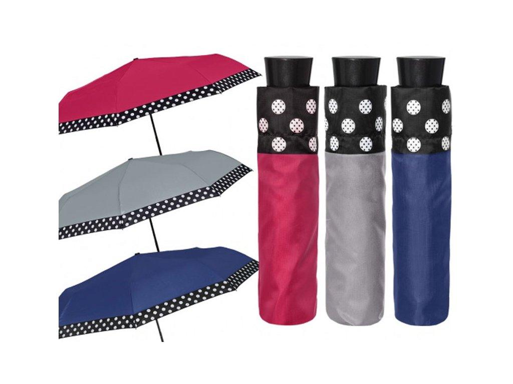 Skládací deštník manuální jednobarevný s puntíkovým lemem