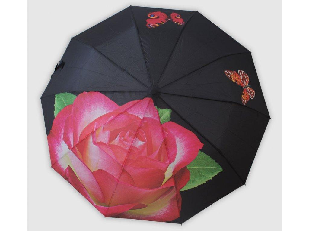 dámský skládací  vystřelovací deštník růže růžová