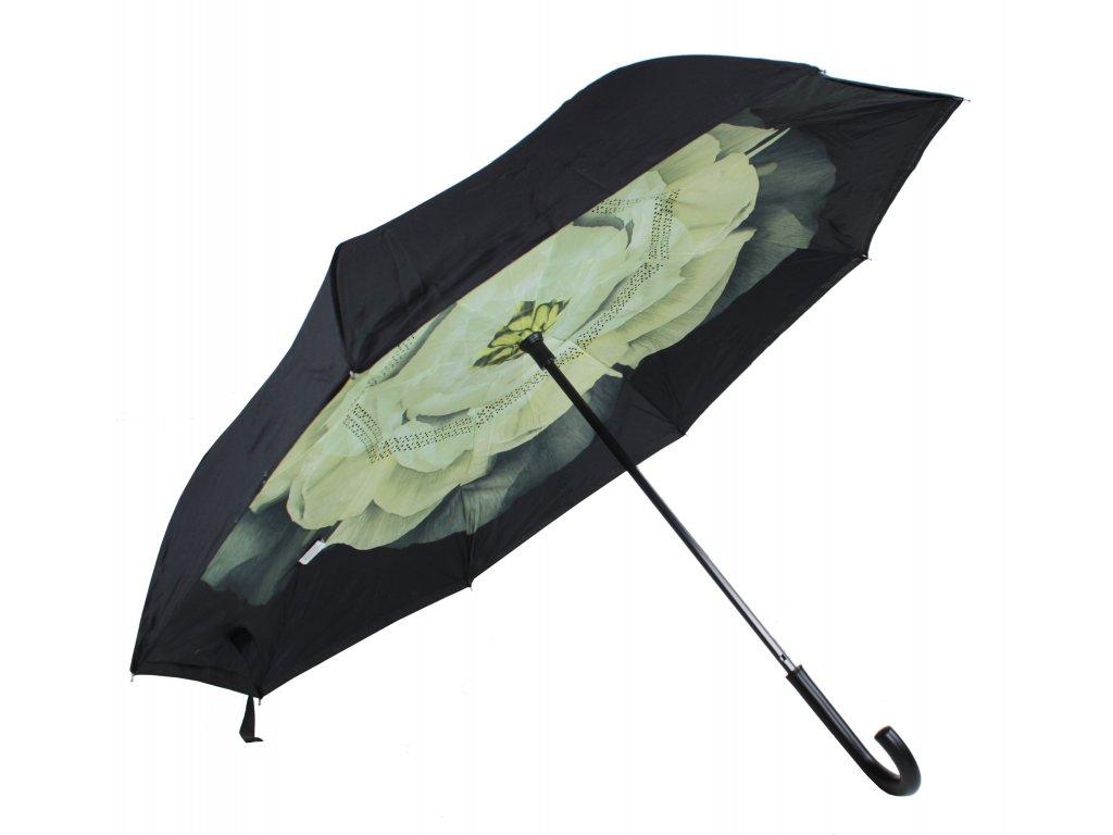 Deštník  s obráceným otevíráním a zavíráním zelená kytka