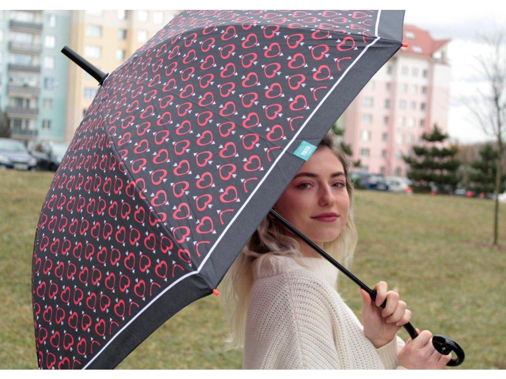 Dámský holový deštník srdíčkový