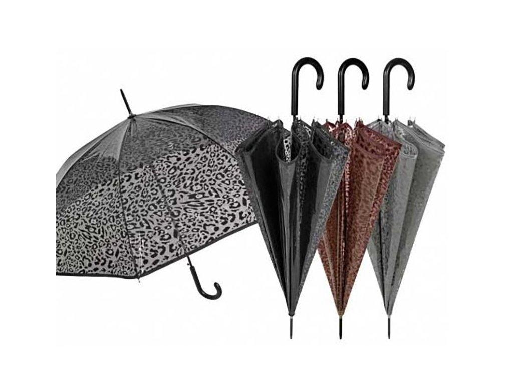 Průhledný deštník leopardí vzor