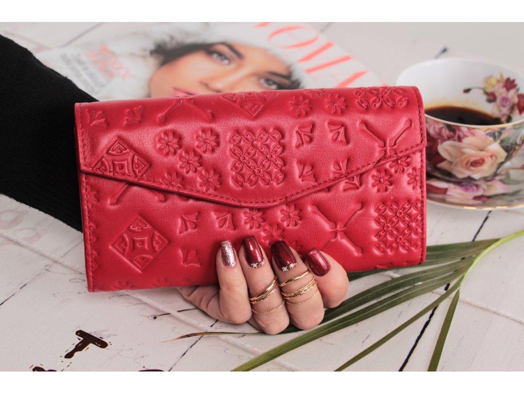 Dámská kožená peněženka majolika červená