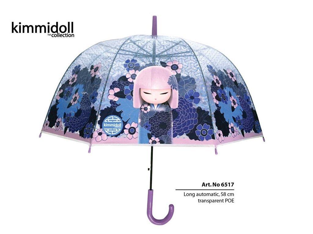 Luxusní průhledný deštník PVC s panenkou KIMMIDOLL modrý