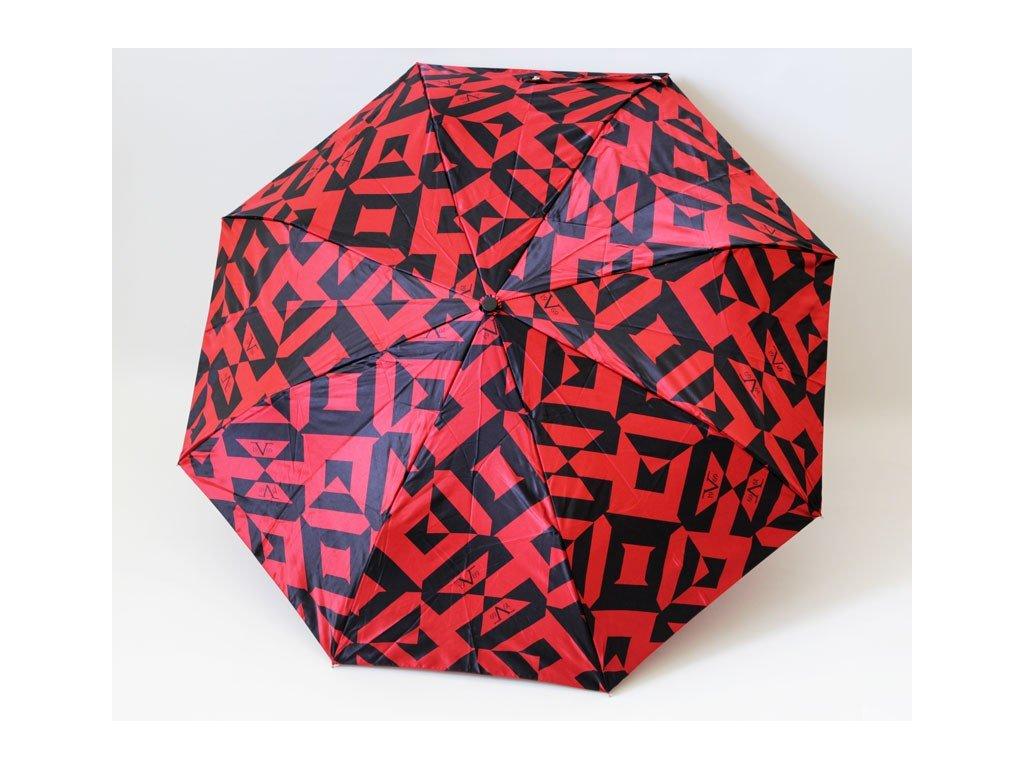 Luxusní skládací deštník manuální VERSACE červenočerný