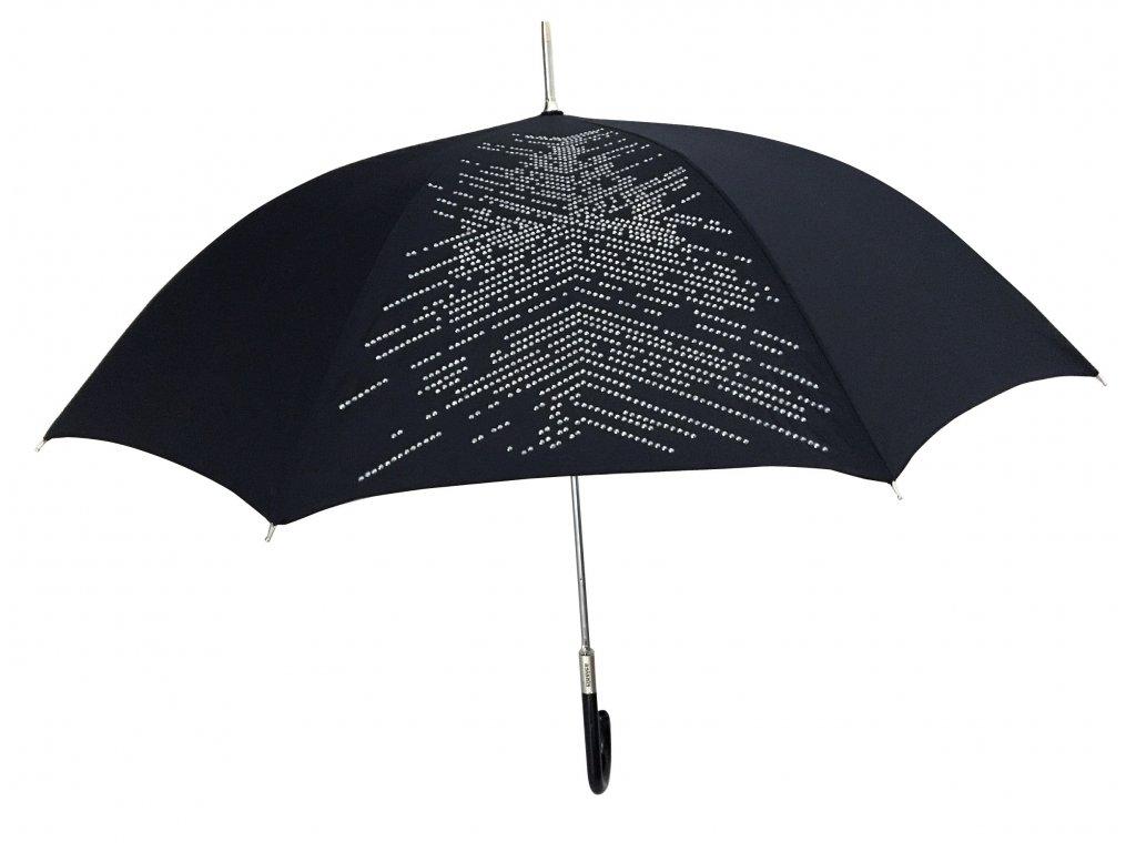 Dámský holový deštník černý ASLANIS s kovovými kamínky