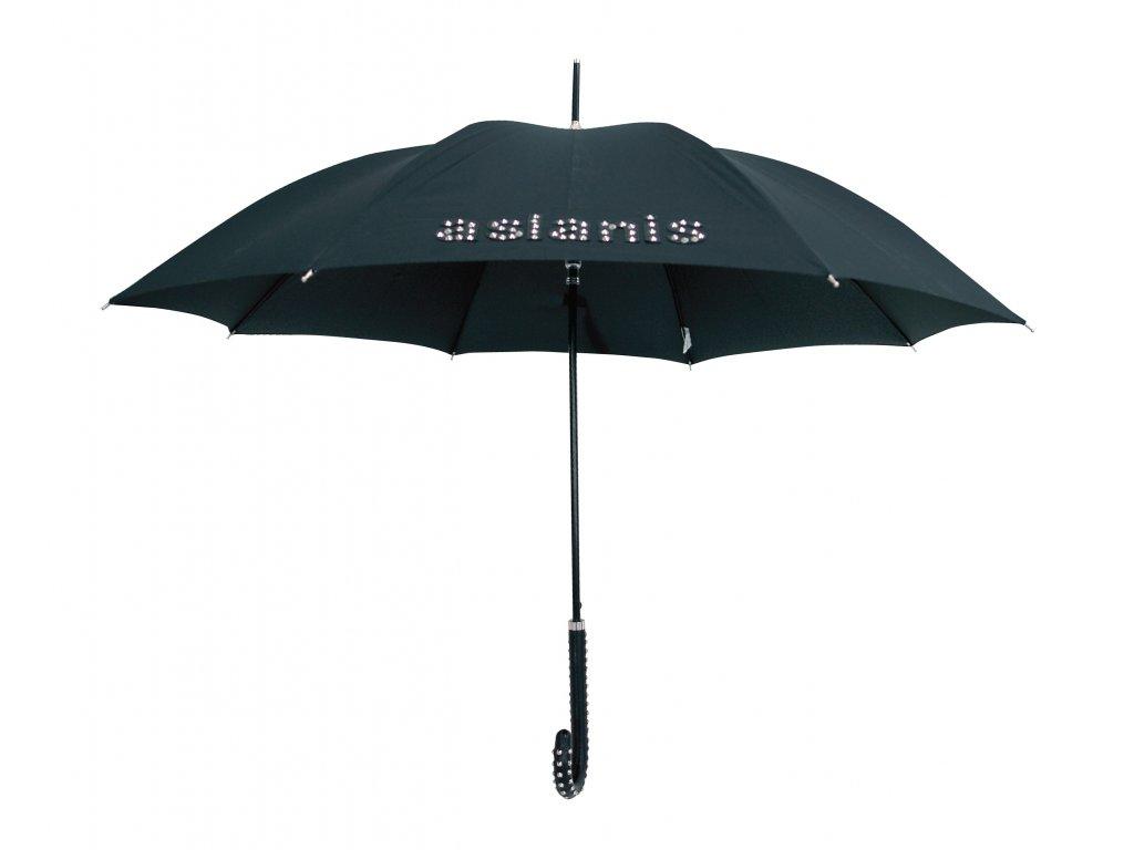 Dámský holový deštník černý ASLANIS s kovovými  doplňky
