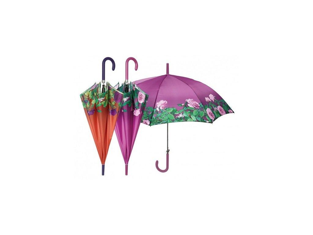 Dámský holový deštník s růžemi
