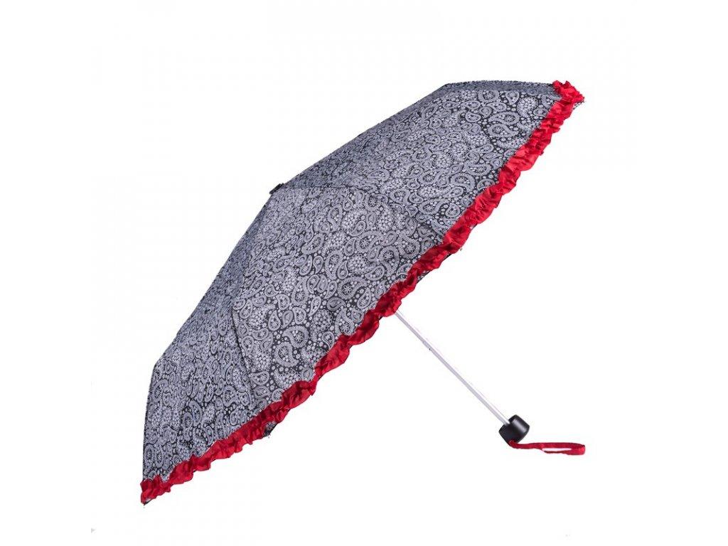 Skládací deštník černobílý s volánkem I ,Kašmír