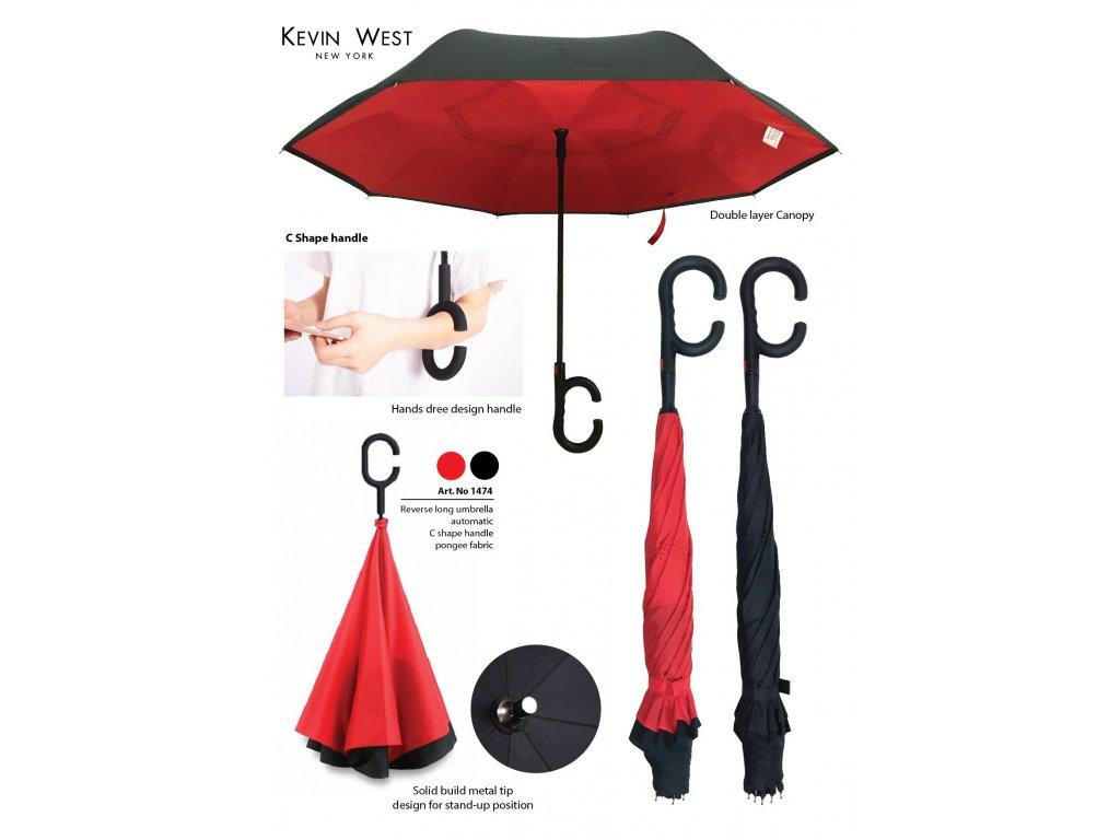 Deštník  s obráceným otevíráním a zavíráním