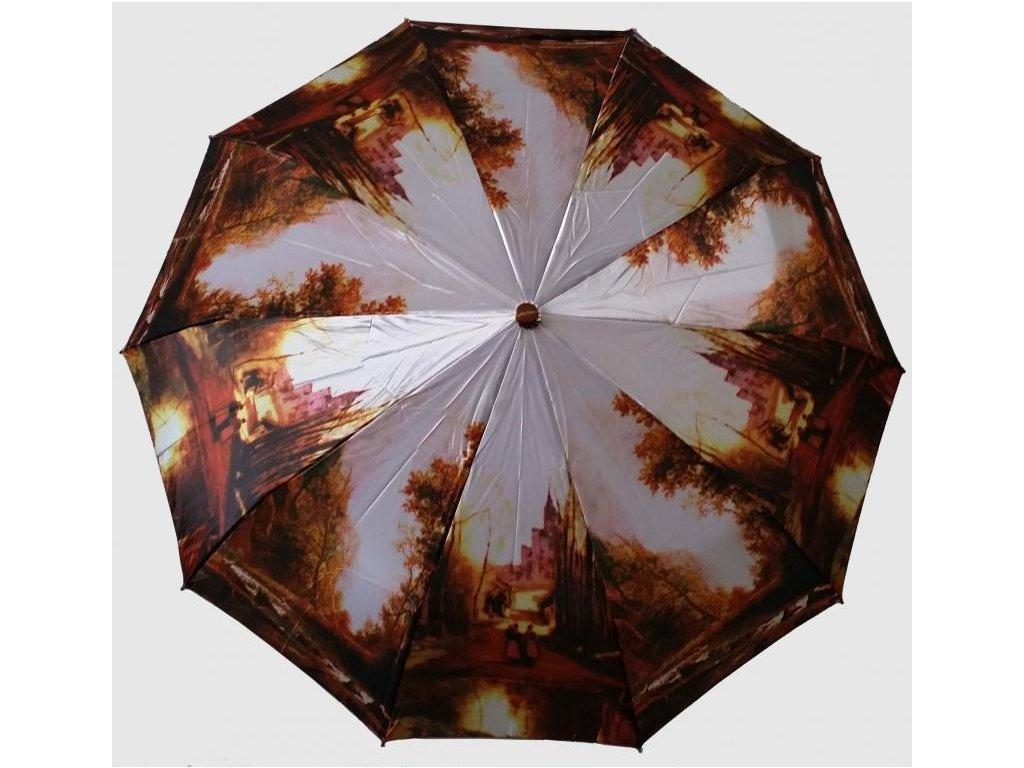 Plně automatický skládací deštník Malba hrad
