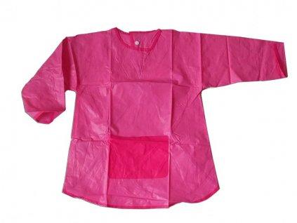 Dětská zástěrka na malování s rukávy růžová