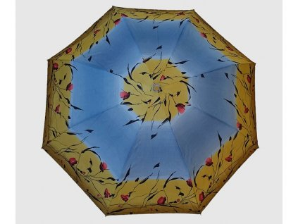 Skládací deštník Květy růže modro žlutý