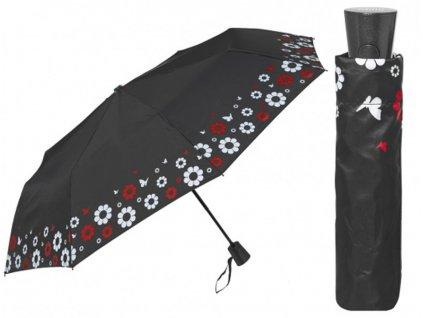 Skládací vystřelovací deštník černý s květinovou bordurou