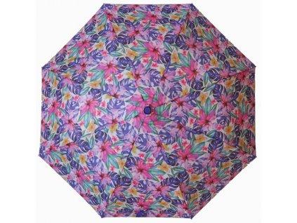 Skládací vystřelovací deštník Barevné květiny3
