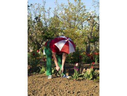 Deštník na hlavu červenobílý