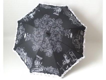 Dámský holový deštník Kavárna černý