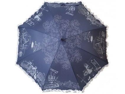 Dámský holový deštník Kavárna modrý