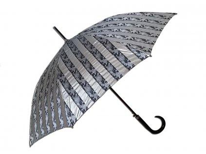 Dámský holový deštník JACQUARD stříbrný pruhy