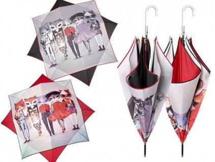 Dámský holový deštník Kočky čtverec