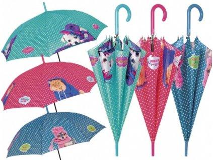 Dámský holový deštník Psi, kočky puntíkaté