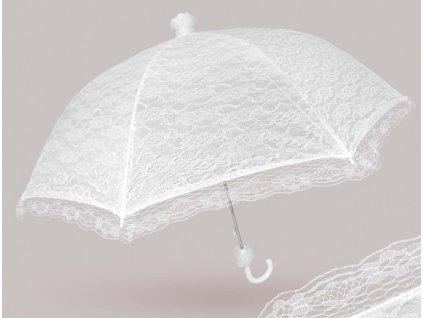 Krajkový svatební deštník bílý