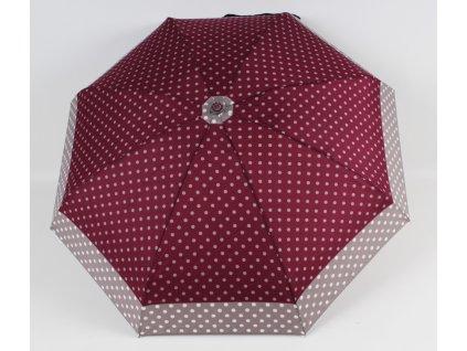 mini skládací deštník puntík vínový