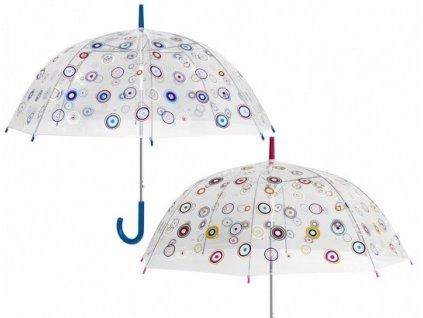 Průhledný deštník PVC s barevnými kolečky