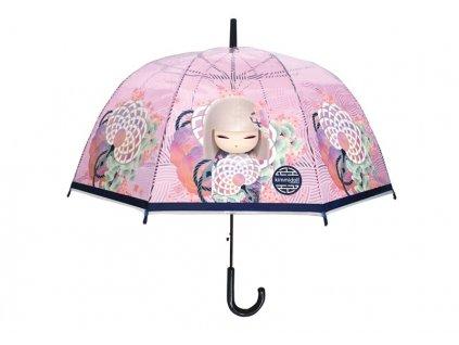 Luxusní průhledný deštník PVC s panenkou KIMMIDOLL