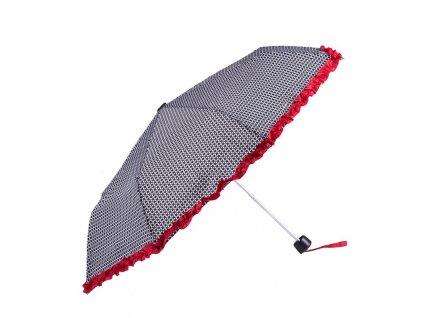 Skládací deštník černobílý s volánkem III ,Mřížka