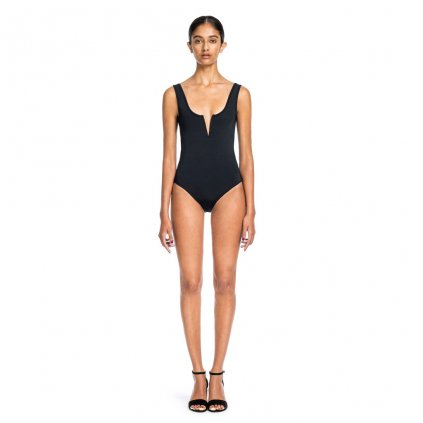 Beth Richards - Ines One Piece - Black Tank One Piece Swimsuit With V Wire Front In Black (Barva Černá, Velikost XS)