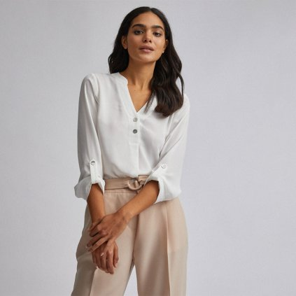 Ivory Two Button Shirt Front