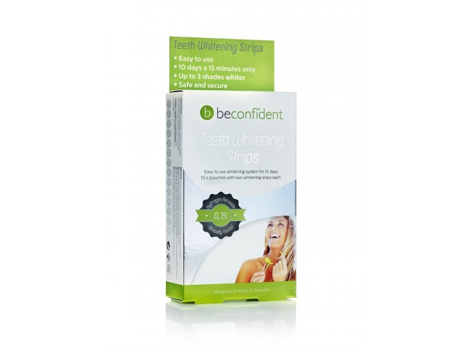 Bělící proužky na zuby BeconfiDent s peroxidem 10-denní kúra 20Ks