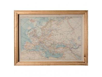 Obraz mapa v dřevěném rámu 65*2*50 cm Clayre & Eef