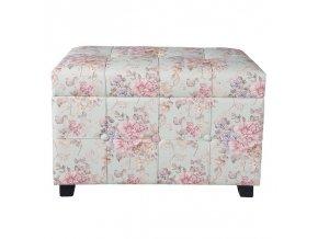 Podnožka taburet s úložným prostorem květovaný CLAYRE & EEF