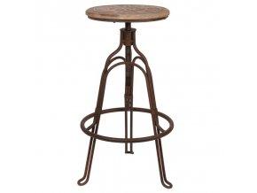 Stolička bistro kovová vintage industriální vytáčecí Clayre & Eef