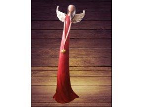 Anděl patina 30 cm  červený