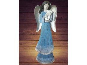 Socha anděl 75cm vintage modrý s patinou