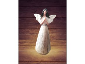 Soška anděl s patinou 22cm třpytivý