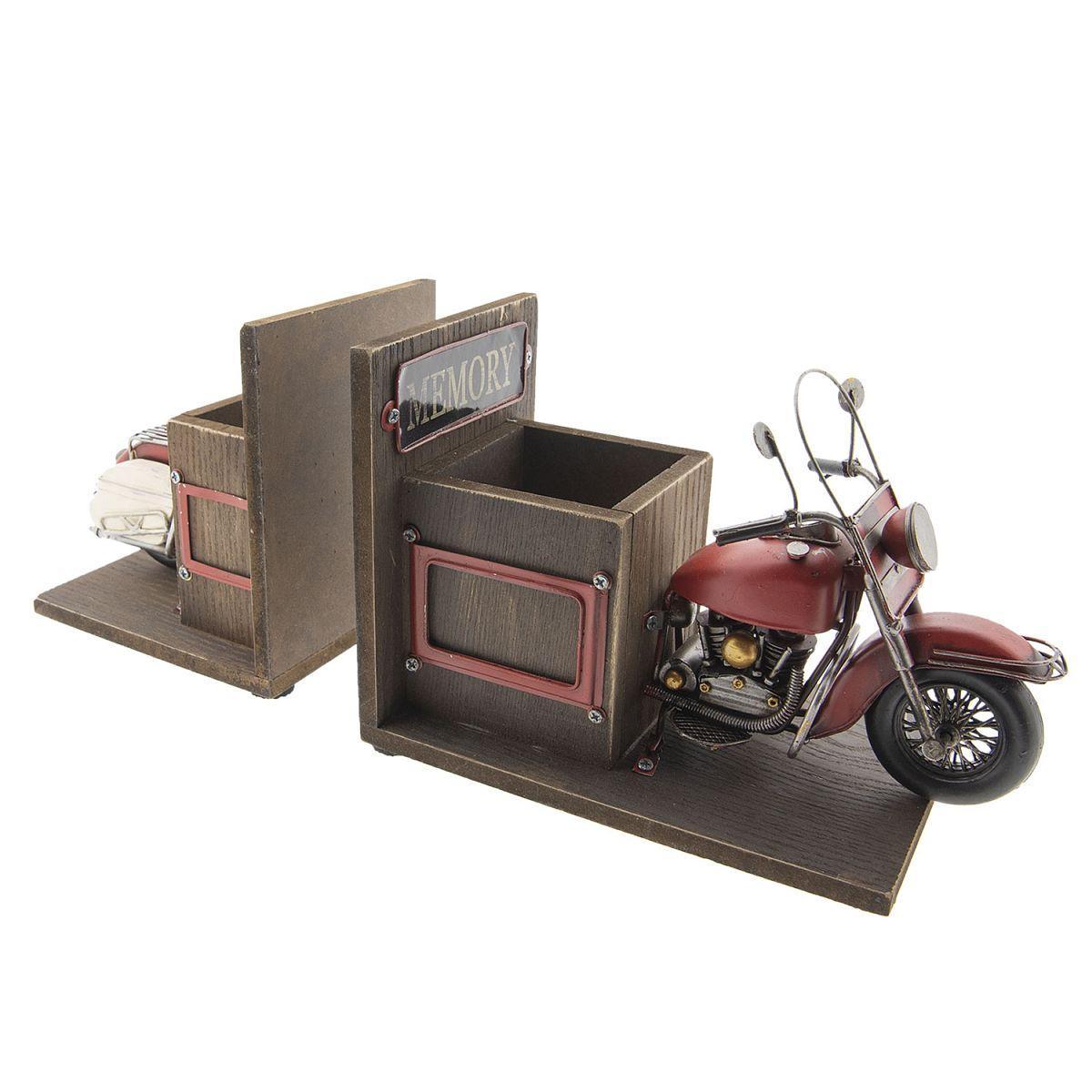 Zarážka na knihy motocykl s přihrádkou na pera Clayre & Eef