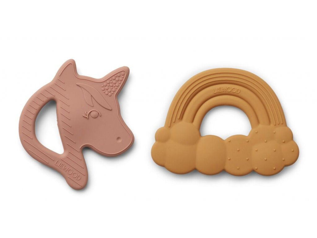 Roxie Silicone Teether 2 Pack Rose Mix