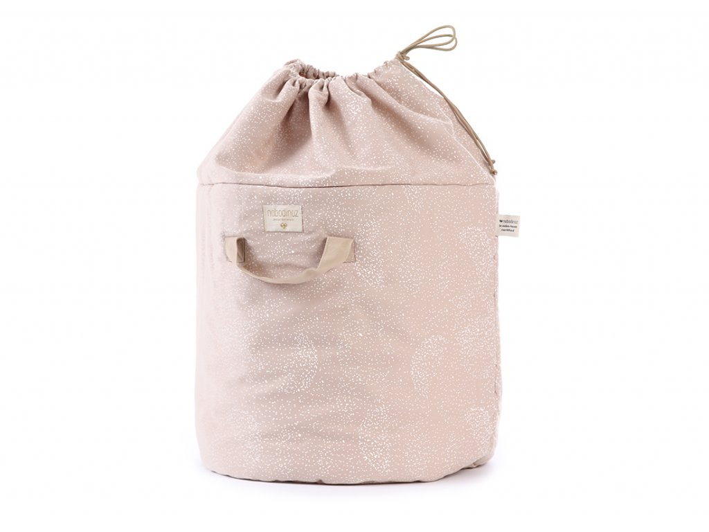 bamboo toy bag sac a jouet guarda juguetes white bubble misty pink nobodinoz 1 2000000100975