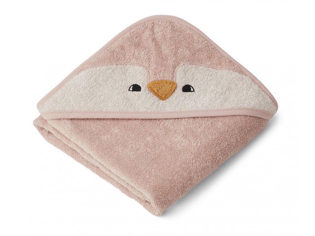 ALBERT HOODED BABY TOWEL PENGUIN ROSE 3.20